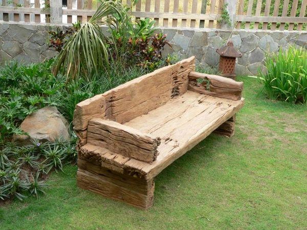 garden sleepers ideas reclaimed railway sleepers DIY garden furniture wooden bench