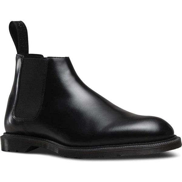 Men's Dr. Martens Wilde Low Chelsea Boot ($90) ❤ liked on Polyvore featuring men's fashion, men's shoes, men's boots, mens black shoes, mens black leather boots, mens goodyear welted shoes, mens low cut boots and mens beatle boots