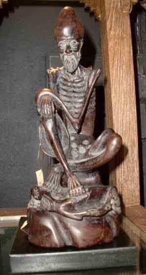 Rare 19th C Vintage Chinese Rosewood Arhat Fasting Monk