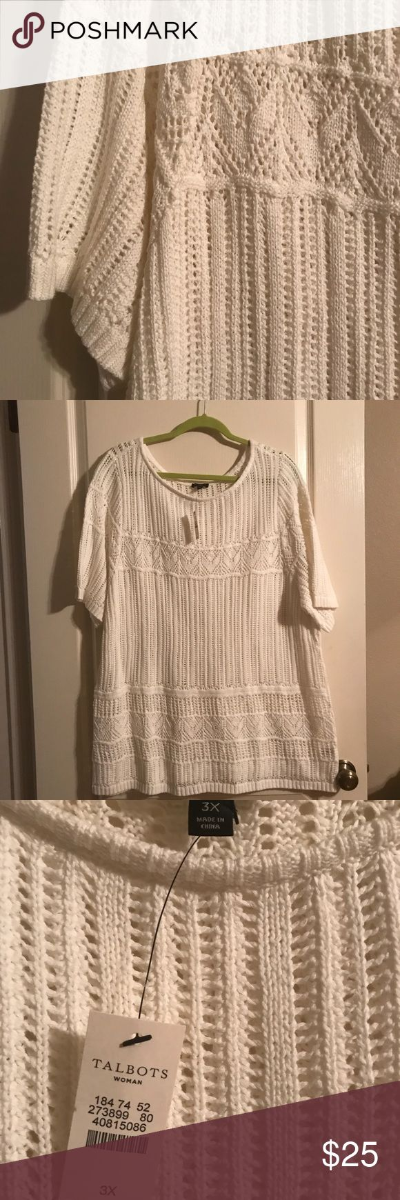 Talbots long sweater/top. Beautiful crocheted short sleeve top or tunic. Can be used for a dressy occasion or casual with jeans. Talbots Tops