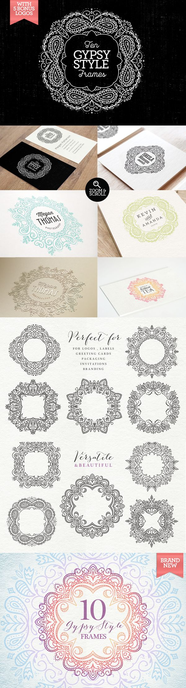 Gypsy Style Frames & Logos on Behance- Buy them
