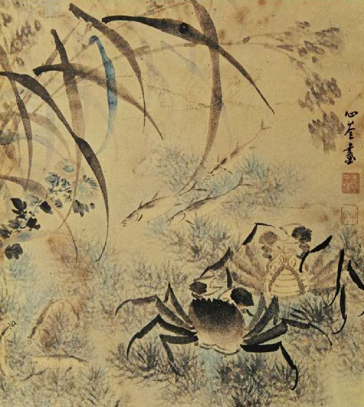 (Korea) Crabs by An Jung-sik. colors on paper. 안중식