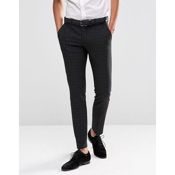 Selected Homme Suit Pant with Mini Plaid in Skinny Fit with Stretch (94180 IQD) ❤ liked on Polyvore featuring men's fashion, men's clothing, men's pants, men's dress pants, black, mens tartan plaid pants, tall mens dress pants, mens skinny fit dress pants, mens zipper pants and mens stretch pants