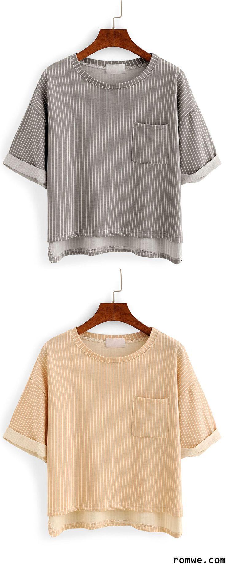 Vertical Striped High-Low Pocket T-shirt - Grey & Khaki