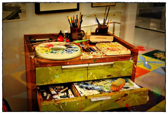 Mary Blair's art desk. I saw this at The Disney Family Museum in San Francisco.