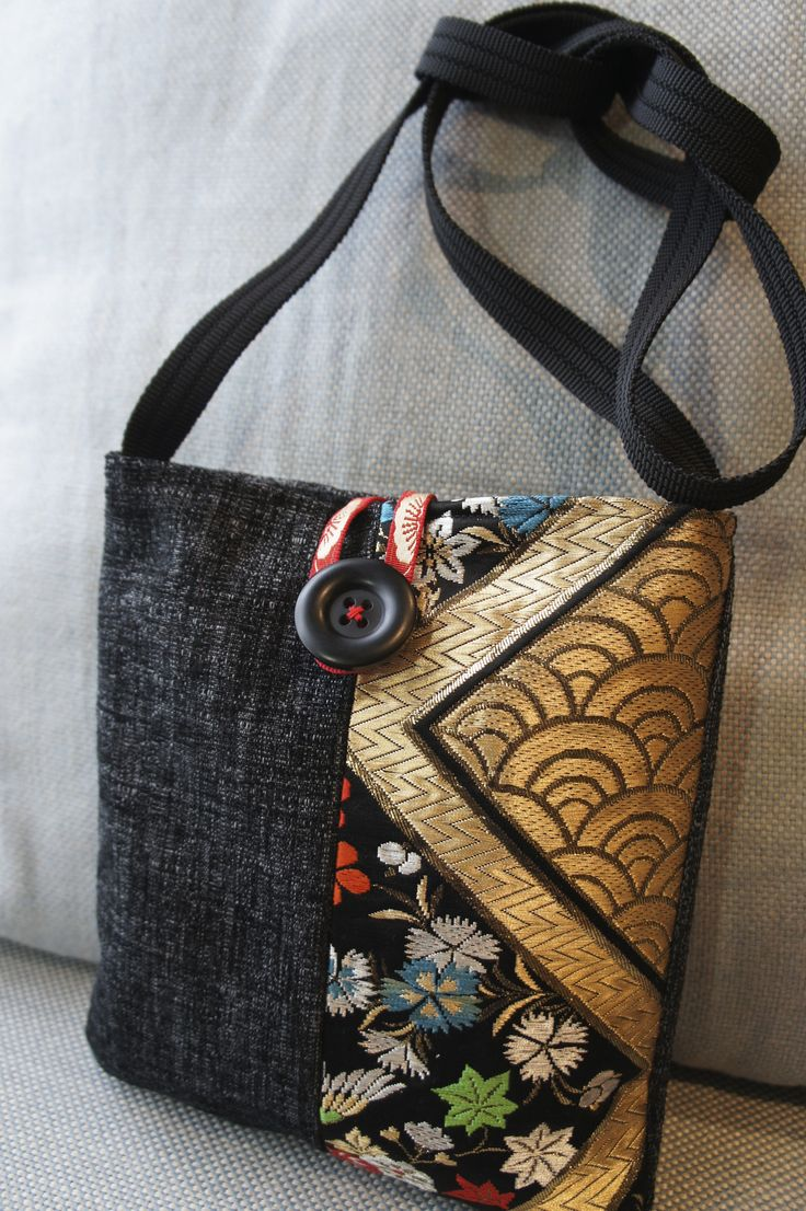 Denim and Japanese Obi fabric shoulder bag.