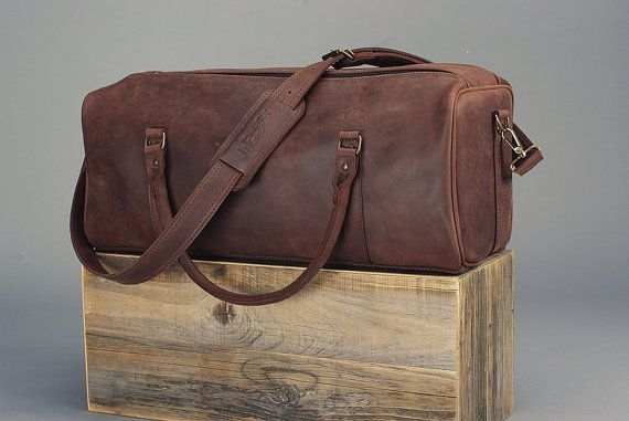 """22"""" Dark Brown Leather Sports Bag, Leather Duffle Bag, Leather Travel Bag, Cabin Travel Bag, Weekender Bag, Overnight Bag 