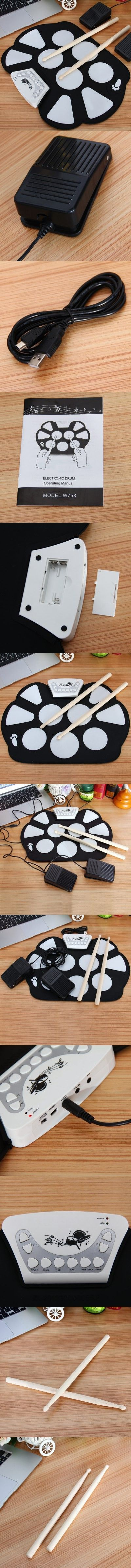 Musical Instruments > Other Musical Instruments W758M USB Drum Kit PC Desktop Electronic Drum Pad with 2 Sticks Foot Pedals