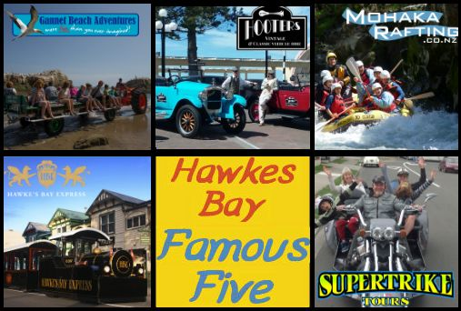 Hawkes Bay Famous Five  Did you know you can: +Take a tractor across the beach to visit the gannets +Ride in an open top vintage car to see the Art Deco Sights +Go rafting down the Mohaka River  +Ride a road train through Napier City  +Experience the Supertrike up Te Mata Peak. All in Hawkes Bay, check out the Famous Five Challenge: www.famousfive.nz