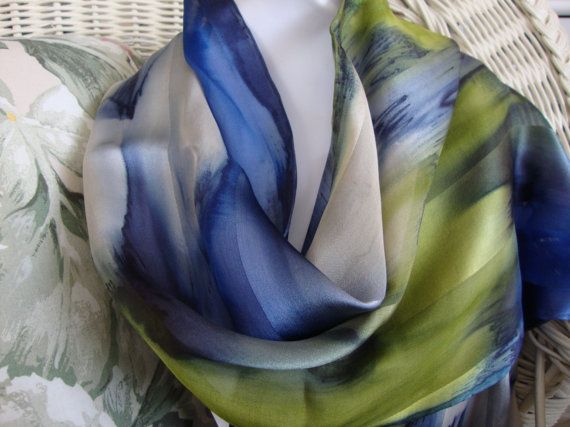 Scarf Silk Women Hand Dyed Blue Lagoon Silk Scarf by MommaGoddess, $31.00