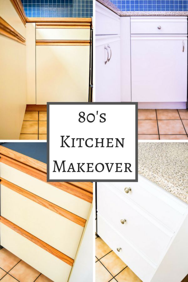 Do you have an ugly 80s kitchen with melamine cabinets and oak grab bars? Put off remodeling and paint your kitchen cabinets instead! With the right paint, new hardware and contact paper for the countertop, you'll have a fresh, modern look! | kitchen |