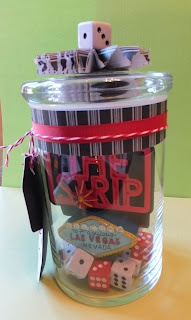 Add airline or hotel gift cards, dice, playing cards and memorabilia  to travel cup or gambling money jar for Vegas-Loving parents!