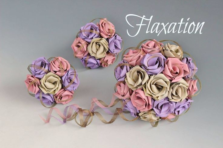 Vintage bouquets in Ivory, pale pink & lilac with vintage gold loops.  www.flaxation.co.nz