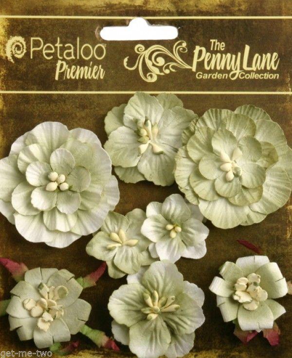 8 x Antique Green Paper Flowers shabby style Petaloo Penny Lane embellishments