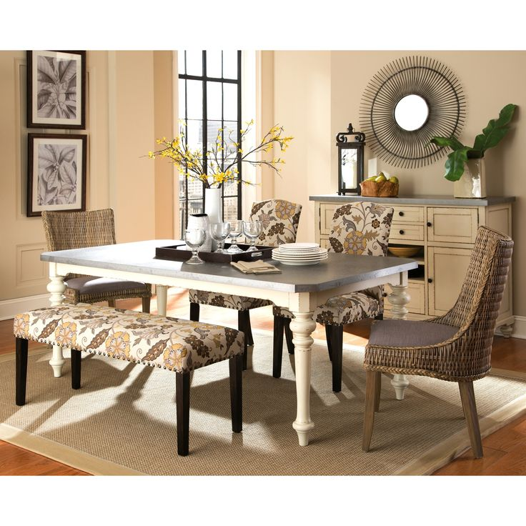 Brighten up your dining room with this elaborate tropical design dining set. Choose from floral pattern parson style chairs and bench or woven wing chairs. This set has enough character to warm up your room and conform your magazine worthy dining area.