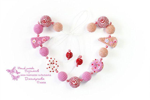 """Hand Made Позитив: """"Сладкая жизнь"""" - Вязаные бусы / Слингобусы #crochet #amigurumi #bijou #jewelry #for_children #bead  #handmade"""