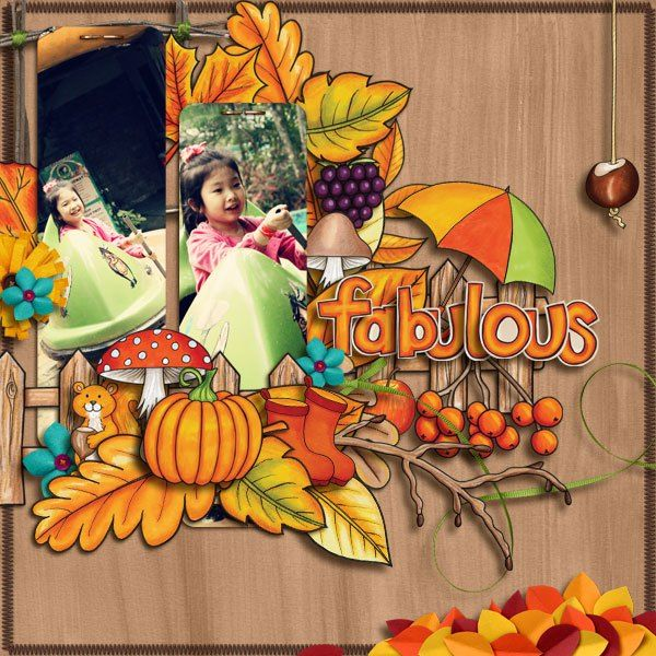"""Fall digital scrapbooking layout created with """"Fantabulous Fall"""" kit by Kate Hadfield & Kim Jensen. Ideas for autumn scrapbook pages! Layout by Creative Team member Winnie"""