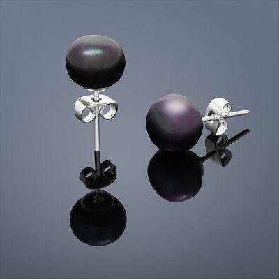 Vpichovací náušnice Mutiara malá – černá perla