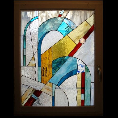 vitraux d coratifs laetitia bastien vitrail contemporain avec inclusion 2009 vitrail id. Black Bedroom Furniture Sets. Home Design Ideas