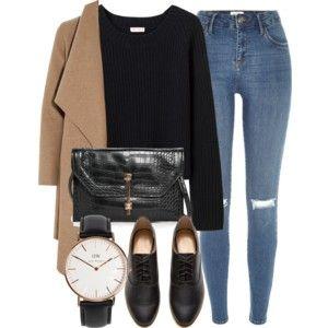 black sweater, camel coat, distressed skinny jeans, black oxfords