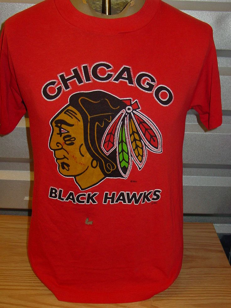 Vintage 1980s chicago blackhawks hocket t shirt thin for Vintage blackhawks t shirt
