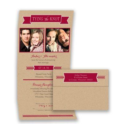 Kraft Photo Wedding Invitation - Seal and Send w/ Banners - Modern at Invitations By David's Bridal