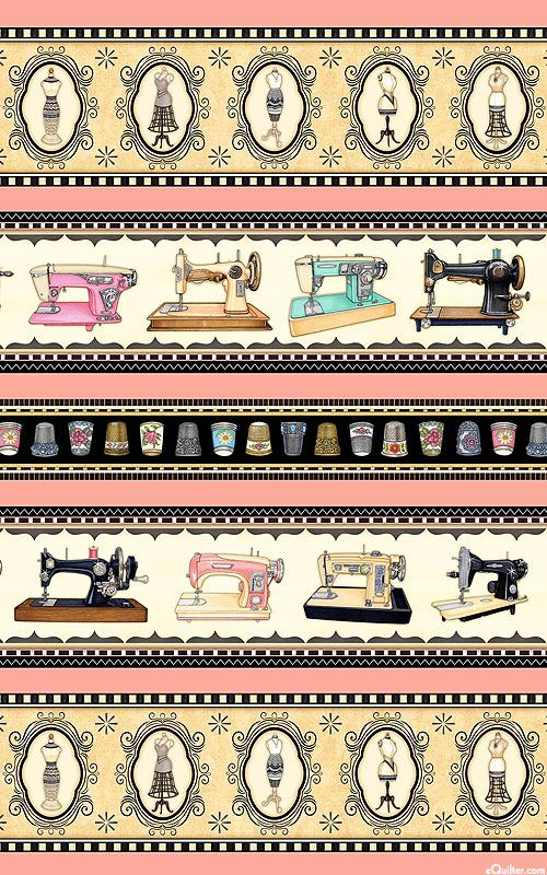 Quilt Fabrics from www.eQuilter.comThimble Pleasures - Vintage Sewing Stripe - Retro Pink