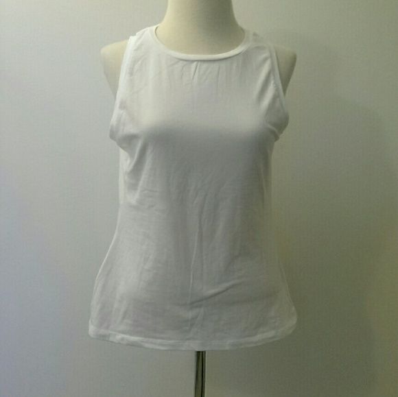 White muscle shirt from Macy's White muscle shirt, never worn, great condition, soft! Energie Tops Muscle Tees