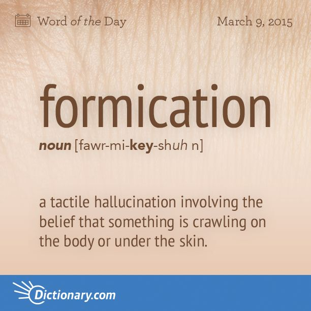 Today's Word of the Day is formication. Learn its definition, pronunciation, etymology and more. Join over 19 million fans who boost their vocabulary every day.