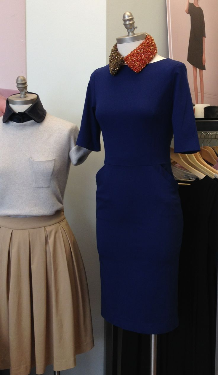 JOANNE HYNES Tri-Collar teamed with Lennon Courtney blue dress | The Central Dairy, 19 Stephen Street