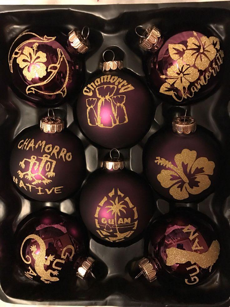 Maroon Christmas Ornaments Part - 44: Maroon Or Navy Guam Christmas Ornaments