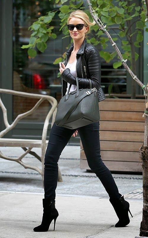 Rosie Huntington Whiteley _model-off-duty #StreetStyle in a leather motorcycle jacket and Givenchy bag