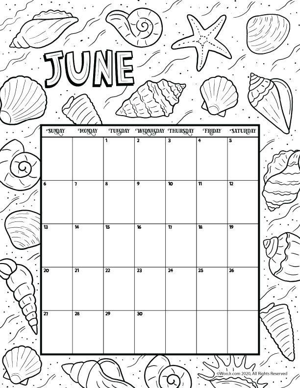 June 2021 Printable Calendar Page Woo Jr Kids Activities Coloring Calendar Printable Calendar Pages Kids Calendar