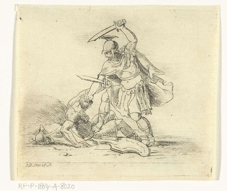 Antonis Aloisius Emanuel van Bedaff | Twee Romeinse soldaten met elkaar in gevecht, Antonis Aloisius Emanuel van Bedaff, 1797 - 1829 |