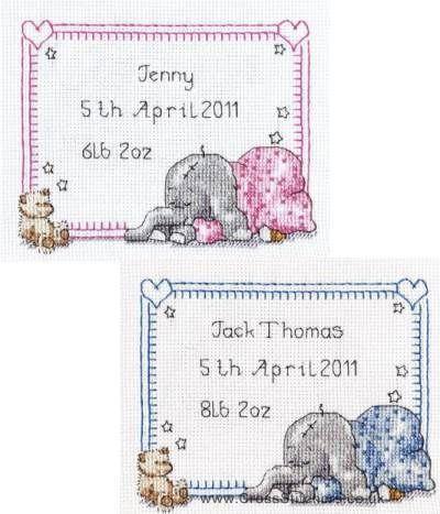 Sleepy Baby Birth Sampler - Peanut & Friends Cross Stitch Kit