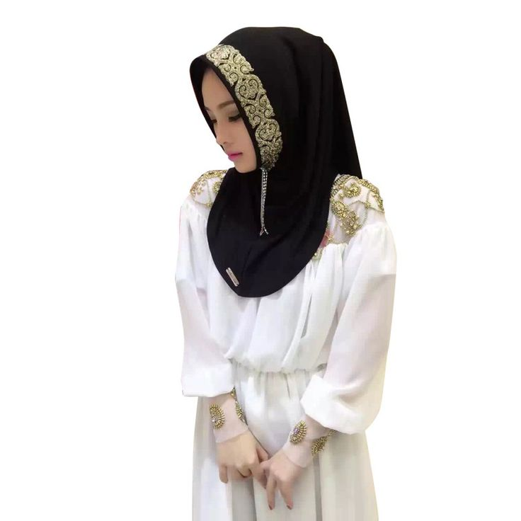 2016 Women Vintage Muslim Golden Fringe Embroidery Floral Caps Hijab Islamic Full Cover Scarf Hats