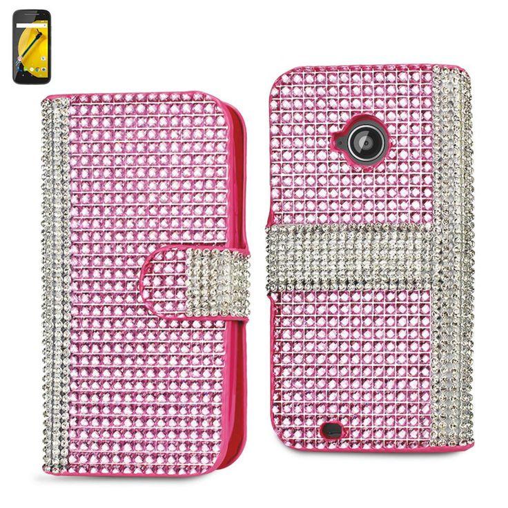 Reiko Diamond Flip Case For Motorola Moto E Lte (2Nd Generation) Motorola Xt1527-Xt1511-Xt1505-Xt1524 Pink
