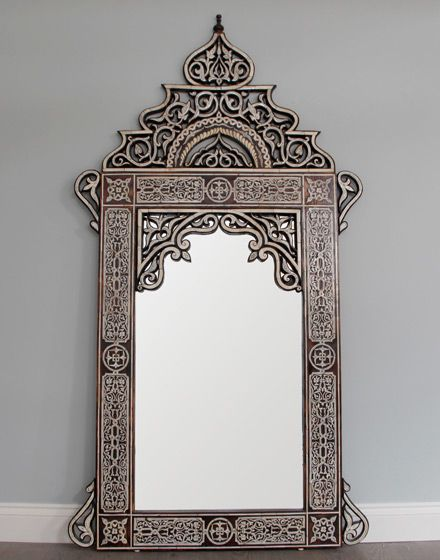 Bone Inlay Hand Crafted Arabic Style Mirror ~ (way too expensive to actually buy!)