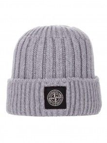 Stone Island Grey Ribbed Beanie Hat £105
