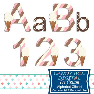 Ice Cream Alphabet Clipart by Candy Box Digital. Great for invitations and announcements, scrapbooks, journals, websites and blogs - Candy Box Digital