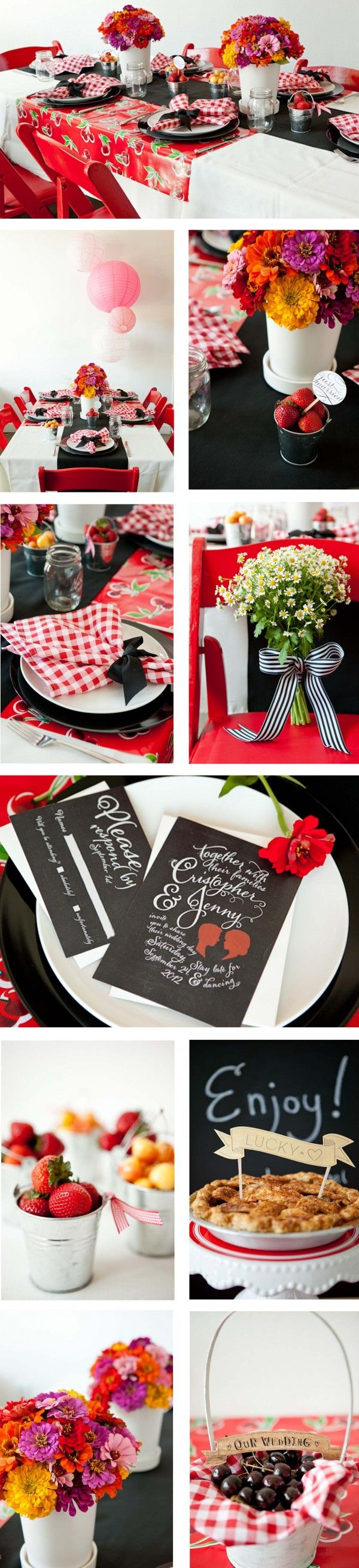 """""""Modern Chic Picnic Wedding""""  Love the strawberries in the tiny buckets.  Cute!"""