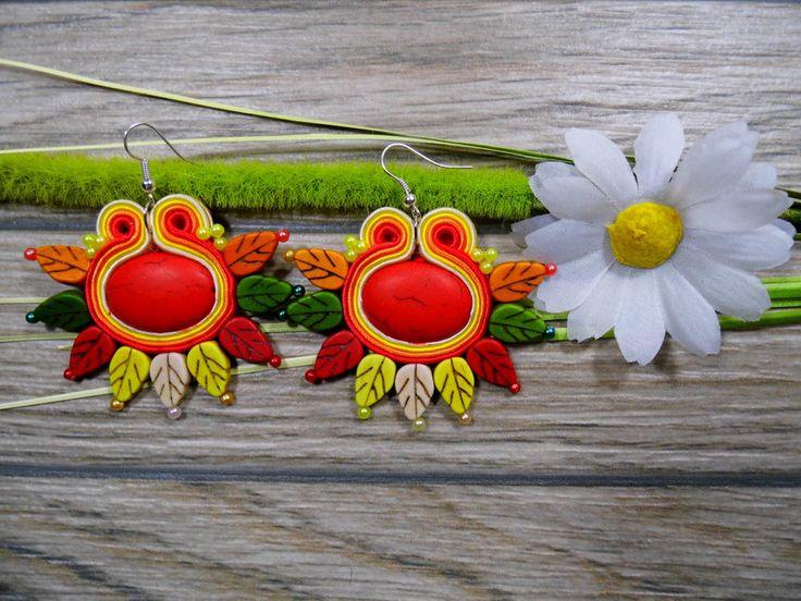 Ohrringe - Ohrringe Technik soutache 7 cm - DaisyArt - ein Designerstück von Joana311 bei DaWanda