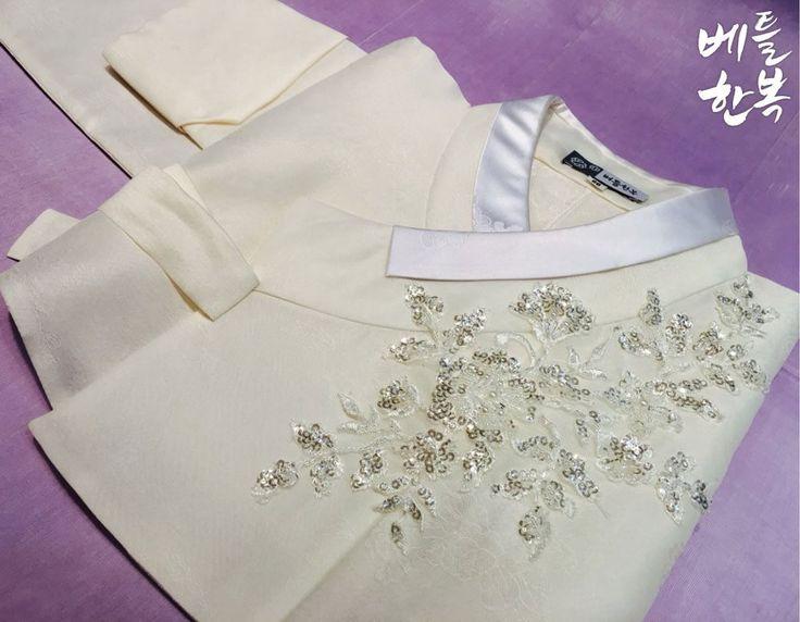 Korean traditional clothes.[한복] #hanbok #korean #비즈한복 #비즈 #저고리 #여자한복 #신부한복 #신부한복대여 #신부한복맞춤 #white #beads #예쁜한복 #베틀한복 #우리옷