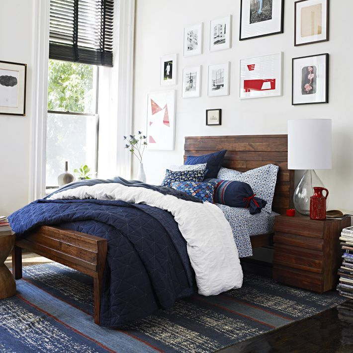 West Elm Navy Bedding Decorating Ideas Pinterest