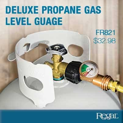 DELUXE PROPANE LEVEL GAS GAUGE  Never run out of propane again! High quality brass construction propane level gas gauge, with built in leak detector will show you how much propane is left in your tank. No tools needed, for propane appliances with Type 1 connection.