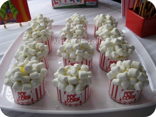 Look at the Popcorn Cupcakes - we did a circus themed party for my daughter's birthday. afrugalfriend