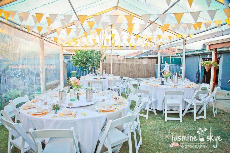 perth weddings. Reception set ups. Bunting flags, vintage, elegant theme.