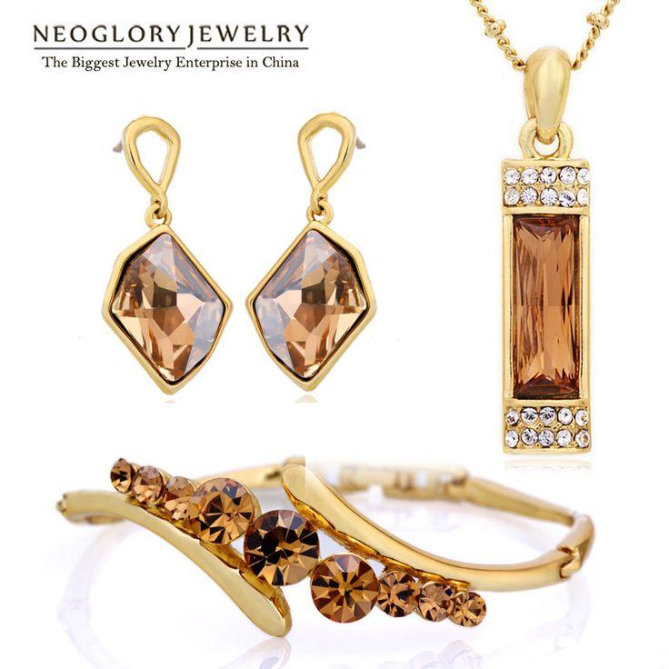 Zinc Alloy Colorful Austrian Rhinestone Fashion Necklaces Earrings Jewelry Sets Wedding Charm New Indian Gifts – lolfashion.net