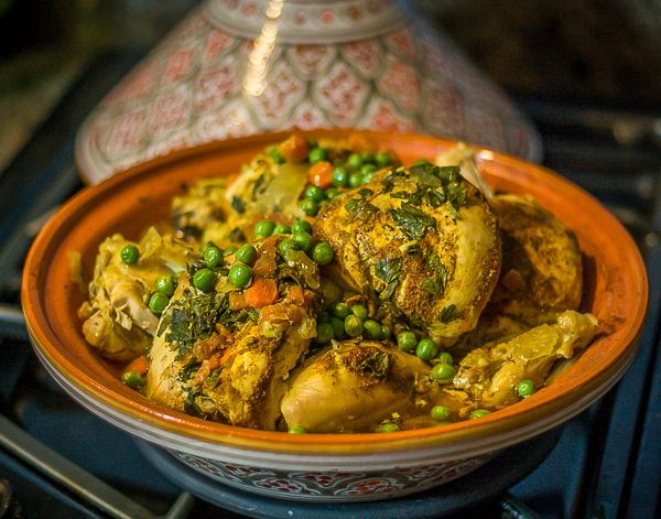 Moroccan Chicken Tagine. An aromatic dish cooked in a ceramic covered dish. Make this recipe in the slow cooker too! | ethnicspoon.com