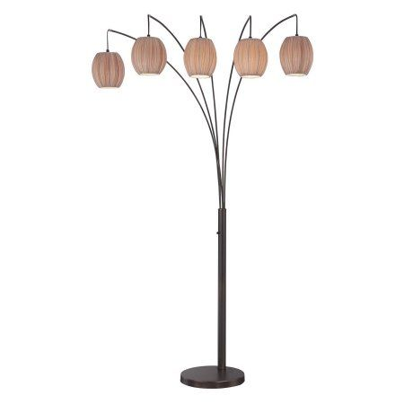 Lite Source Kaden 5-Light Arch Floor Lamp, Copper Bronze Finish with Light Brown Fabric Shade